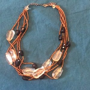Copper/Peach and Black Beaded Necklace
